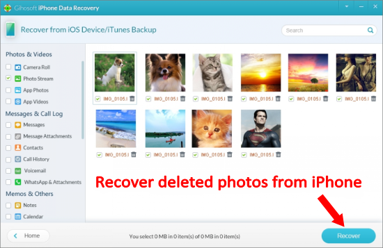 Recover Deleted Photos from iPhone without Backup.