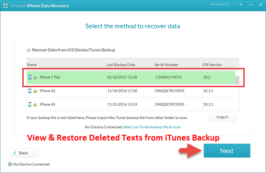 Restore Text Messages from Previous iTunes Backup