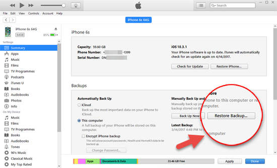 Restore deleted texts from the iTunes backup to iPhone