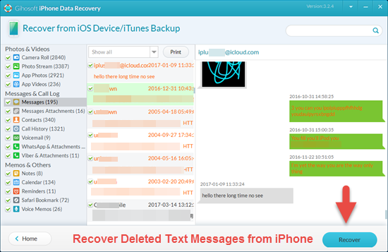 Retrieve Deleted Text messages on iPhone
