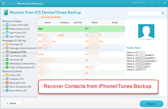 Recover Deleted or Lost Contacts from iPhone/iTunes with Freeware