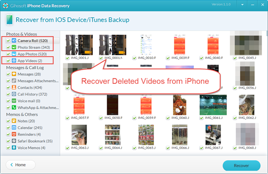 Retrieve Deleted Videos from iPhone with Freeware