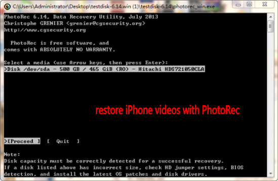 Recover videos from iPhone with PhotoRec