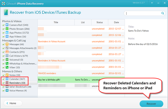 Recover Deleted Calendars and Reminders with Freeware