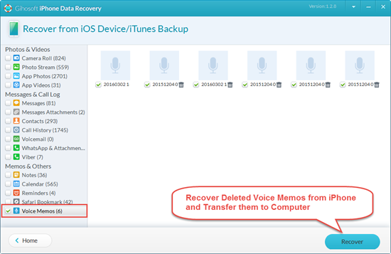 Recover Lost or Deleted Voice Memos from iPhone