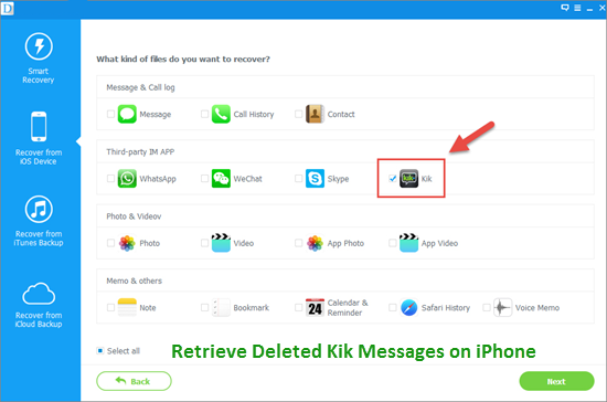 Retrieve old or deleted Kik messages with Kik chat recovery tools