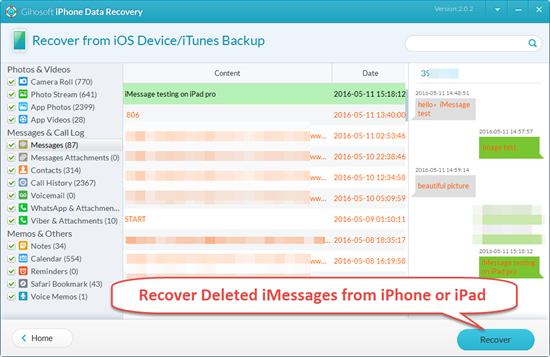 Retrieve Deleted iMessages from iPhone or iPad with Freeware