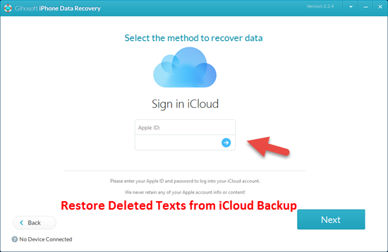 Recover Deleted Text Messages on iPhone with iCloud Backup