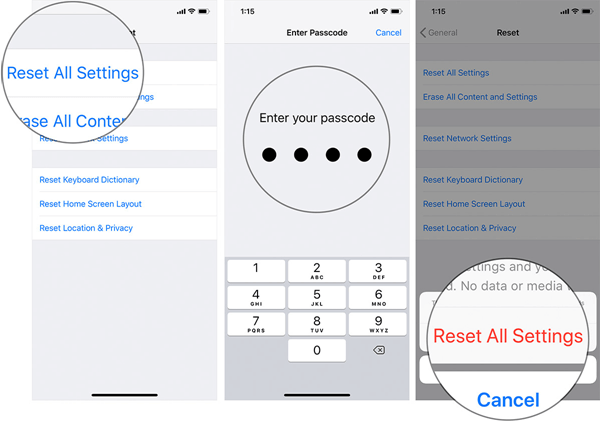 Reset All Settings to Fix iPhone Messages Out of Order.