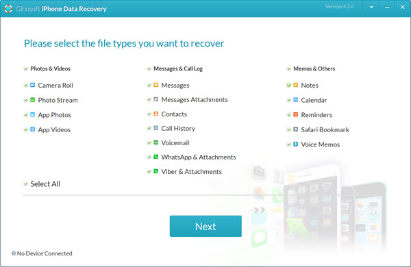 Launch this free iPhone Recovery software on your computer.