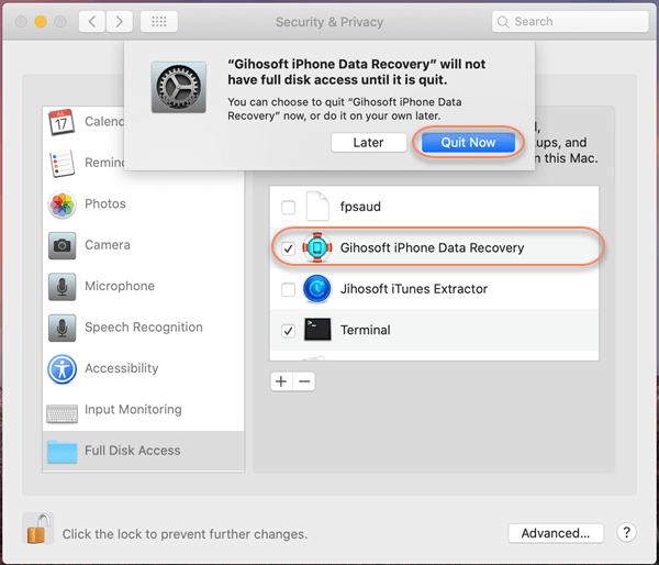 Below are the steps to fully trust Gihosoft iPhone Data Recovery in Mac