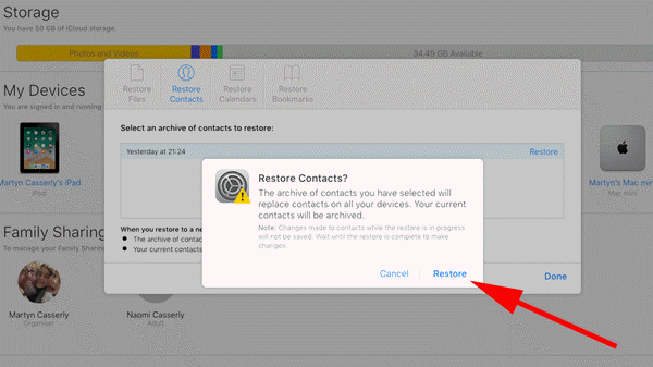 Restore iPhone Contacts in Settings on iCloud.com