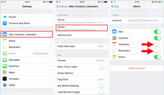 Get Calendars or Reminders Back from Email Account.